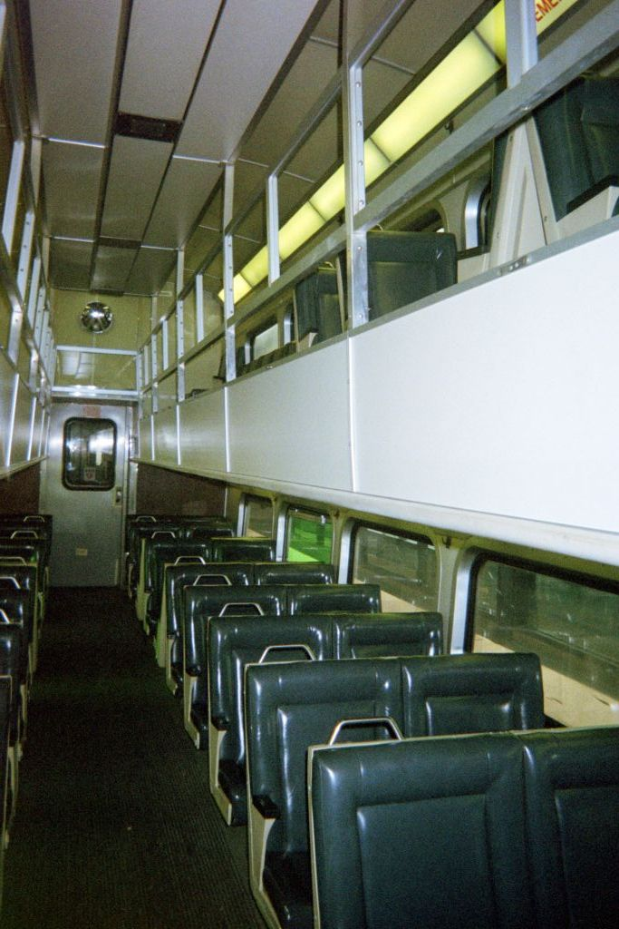 The inside of the Metra train